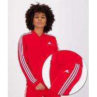 Agasalho Adidas Essentials 3S Feminino Vermelho