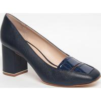 Sapato Em Couro Com Recortes - Azul Marinho- Salto: Jorge Bischoff