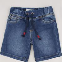 Bermuda Jeans Infantil Com Cordão Azul Médio