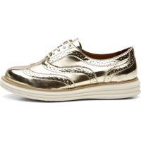 Sapato Oxford Q&A Mocassim Casual Ouro Ref:300 E