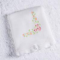 Manta Bebê Branca Bordado Floral Tricot 80Cm Grão De Gente Branco