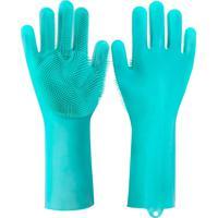Luva Silicone Lava Louça Anti Térmica Azul