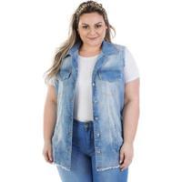 Colete Plus Size Jeans Maxi Vinil Com Elastano Feminino - Feminino-Azul