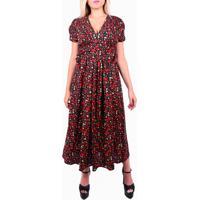 Vestido Driss Floral Midi Vermelho