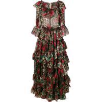 Dolce & Gabbana Vestido Com Babados E Padronagem - Marrom