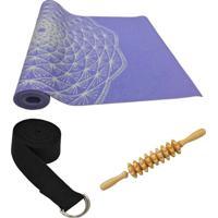 Tapete Yoga Com Cinto E Bastão Massageador Hopumanu