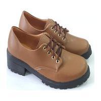 Sapato Oxford Feminino Napa Caramelo Confortável
