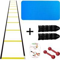 Kit Colchonete Eva Azul 10Mm + Par Halter 2Kg +Par Caneleira 3Kg + Escada Agilidade Nylon - Unissex