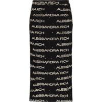 Alessandra Rich Saia Lápis De Tweed Com Logo - Preto