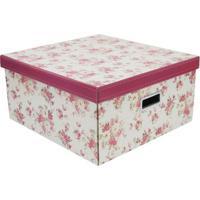 Caixa Organizadora Flower- Off White & Rosa Escuro- Boxmania