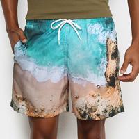 Shorts Mash Estampado Paisagem Masculino - Masculino-Azul Claro