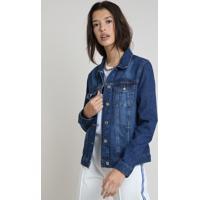 Jaqueta Jeans Feminina Com Bolsos Azul Escuro