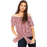 Blusa Facinelli By Mooncity Ombro-A-Ombro Vichy Vermelha/Branca - Vermelho - Feminino - Poliã©Ster - Dafiti