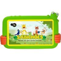 "Tablet Dl Tx386Bvd Sabichoes Branco Com Capa De Sapo Verde Tela 7"" 8Gb Wi-Fi Android"