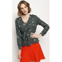 Blusa Floral Com Amarraã§Ã£O- Verde Escuro & Branca- Mmurau