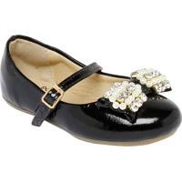 Sapato Boneca Com Laço Aplicado - Preta- Luluzinhaluluzinha