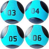 Kit 4 Medicine Ball Liveup Pro 3 4 5 E 6 Kg Bola De Peso Treino Funcional - Unissex