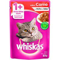 Ração Para Gatos Whiskas Adulto 1+ Anos Sachê Sabor Carne Ao Molho 85G