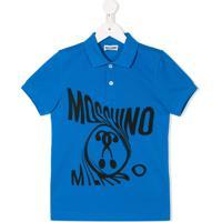 Moschino Kids Camisa Polo Com Estampa De Logo - Azul