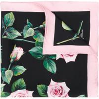 Dolce & Gabbana Lenço Com Estampa De Rosa - Preto