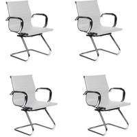 Conjunto Com 4 Cadeiras De Escritório Best Interlocutor Branco