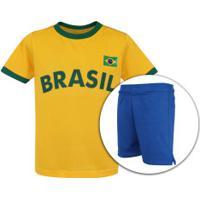 Kit De Uniforme De Futebol Do Brasil 2018 Adams 01: Camisa + Calção - Infantil - Amarelo/Azul Escuro