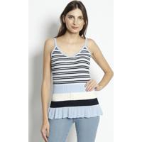 Blusa Em Tricô Listrada- Azul Claro & Off Whiteenna