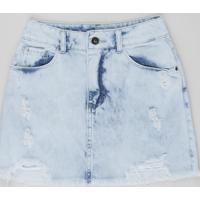 Saia Jeans Juvenil Destroyed Azul Claro