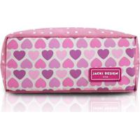 Estojo Infantil Jacki Design Coração Microfibra Feminina - Feminino-Rosa
