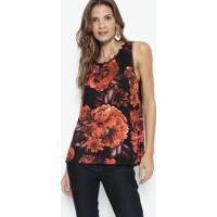 Blusa Floral Com Pedrarias - Preta & Vermelha- Lançalança Perfume