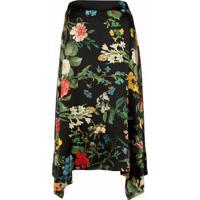 Madison.Maison Laura Floral-Print Silk Skirt - Preto