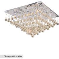 Plafon Quadrado Com Pingentes- Cristal & ÂMbar- 37X6Hevvy