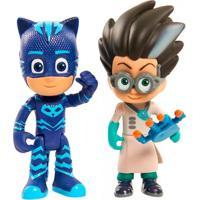 Figuras Articuladas Com Luzes - Pj Masks - Menino Gato E Inimigo - Dtc - Masculino-Incolor