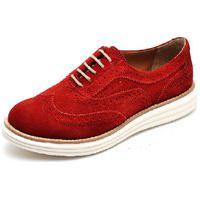 Sapato Oxford Plataforma Feminino Q&A Calçados Vermelho