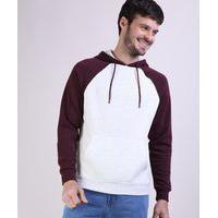 Blusão De Moletom Masculino Básico Raglan Com Bolso Canguru E Capuz Off White