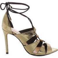 Sandália Bico Folha Lace-Up Gold | Schutz