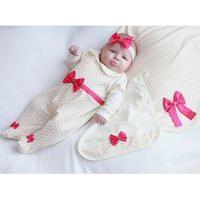 Saída De Maternidade Sônia Enxovais Menina Sofia Poá Palha E Pink