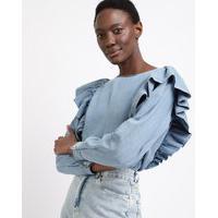 Blusa Jeans Feminina Mindset Com Babados Manga Longa Decote Redondo Azul Claro