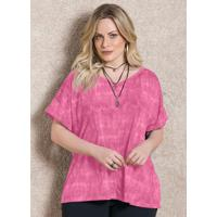 Blusa Rosa Soltinha Com Decote V