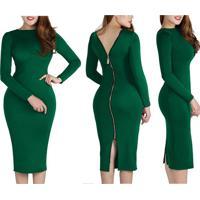Vestido Tubinho Midi Zíper Nas Costas - Verde P