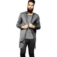 Blazer Cardigan Longo Masculino Casaco Estiloso Fashion – Slim Fitness Cinza