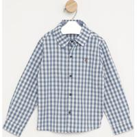Camisa Com Bordado- Branca & Azul- Pequena Maniapequena Mania