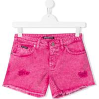 Marco Bologna Kids Bermuda Jeans Desgastada - Rosa