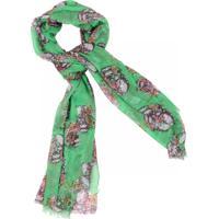 Lenço Real Arte Caveiras E Flores Verde