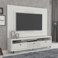 Rack Com Painel Para Tv 55 Polegadas Olimpo Plus 180Cm Branco
