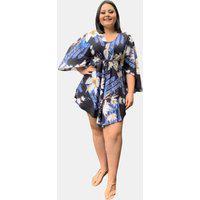 Vestido Kimono Curto Social Verão Tnm Collection Plus Size Casual Festa Estampado