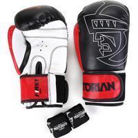 Kit Luva Boxe/Muay Thai First Pretorian 12 Oz + Bandagem + Protetor Bucal - Unissex