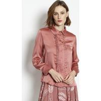 Camisa Acetinada Com Pregas- Rosãªenna