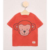 Camiseta Infantil Manga Curta Estampa Interativa Macaco Coral