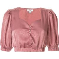 We Are Kindred Blusa Frenchie Cropped Em Crope De China - Rosa